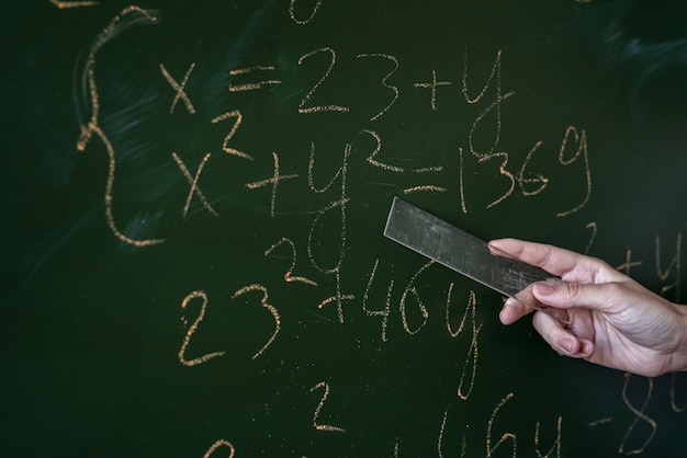 Female hand writing math formulas on the classboard, close-up
