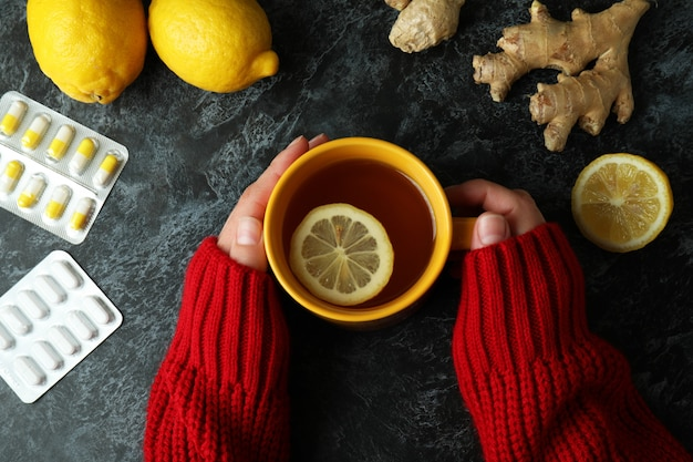 Female hands and alternative medicines