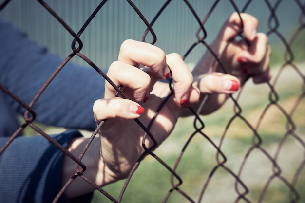 Female hands grabbed the metal mesh of the fence