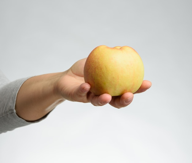 Female hands hold a ripe apple on a white background, close up