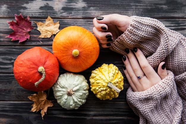 Female hands holding autumn pumpkins. old wooden background