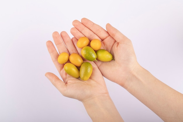 Female hands holding bunch of cumquats on white table.