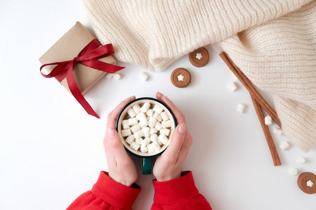 Female hands holding cup of hot chocolate with marshmallow