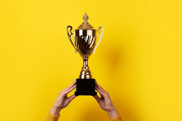 Female hands holding golden trophy over yellow background