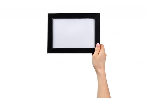 여성의 손을 잡고 사진 프레임 흰색 절연