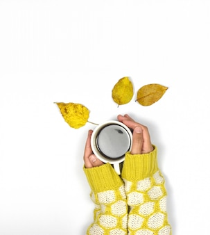 Female hands holding sweater coffee and autumn leaves on white .