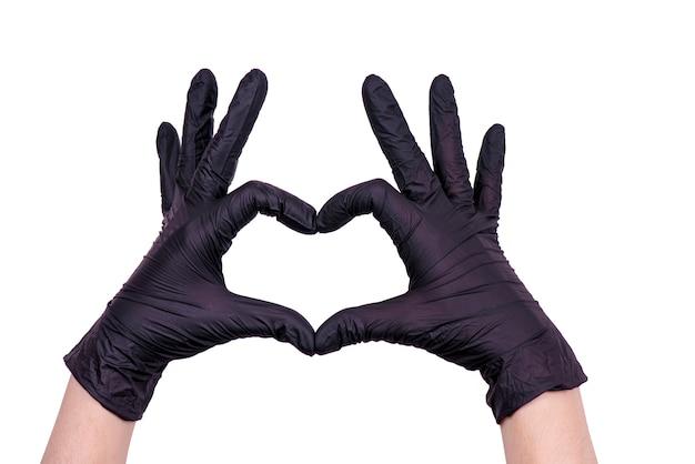 Женские руки в перчатках. медицинская тема. коронавирус пандемия