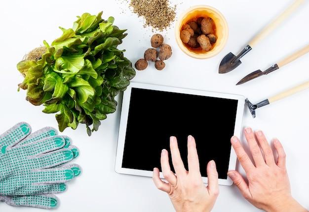 Женские руки над экраном планшета, домашнее садоводство, онлайн-обучение, и небольшие садовые инструменты