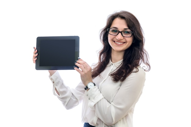 Female hands showing tablet with empty screen close up