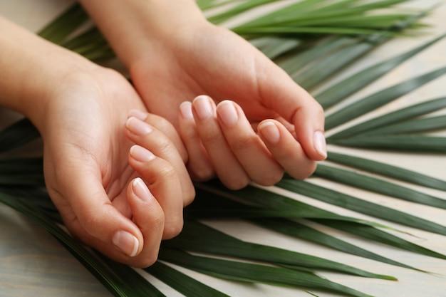 Женские руки. концепция ухода за кожей и маникюра