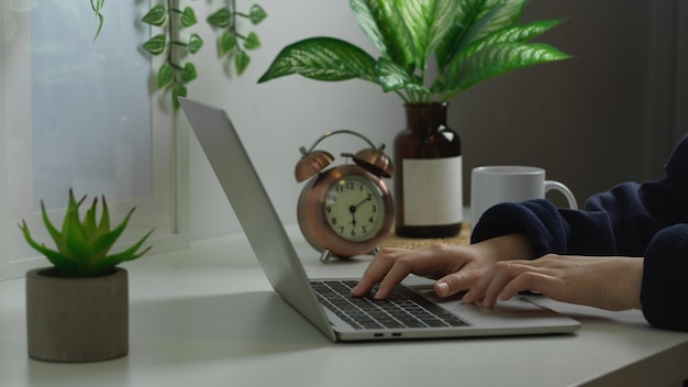 Female hands typing on laptop in biophilia workspace interior design at home