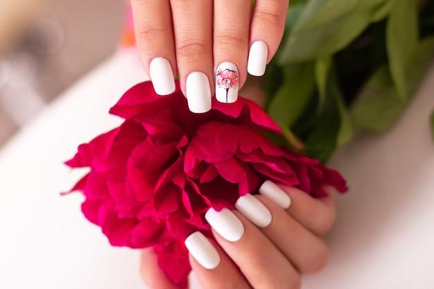 美しいマニキュアの爪を持つ女性の手