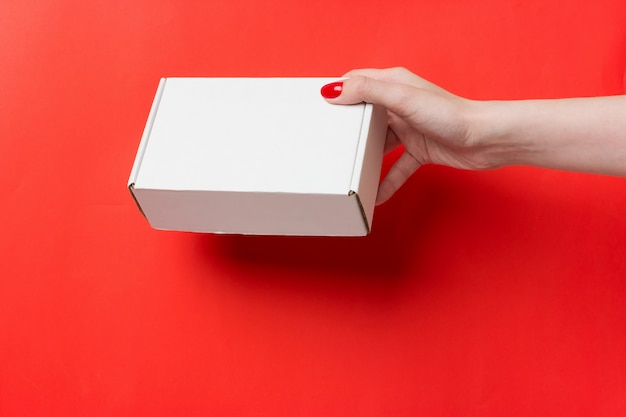 Female hands with box on red background