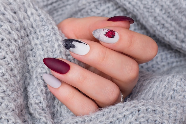 Female hands with creative manicure nails