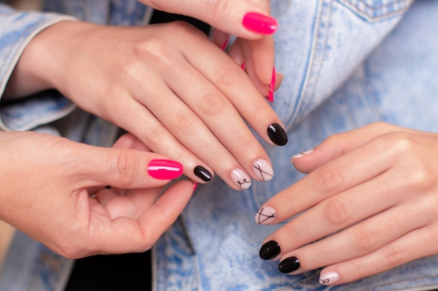 Female hands with fashion manicure nails