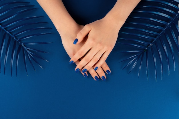Female hands with manicure of classic blue color with leaves