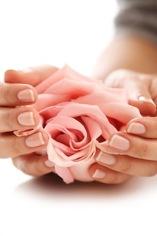 Female hands with pink rose. femininity concept