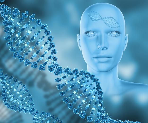 女性の頭部とdna鎖との医学的背景のレンダリング3d
