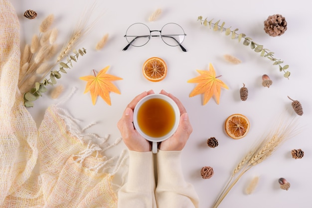Female holding cup of tea over  autumn background.