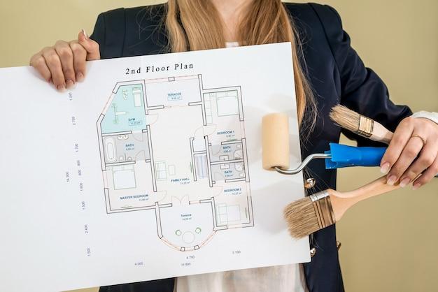 女性のホールディングハウスの計画と作業ツール