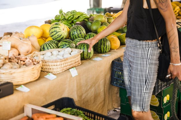 시장에서 과일을 구입하는 동안 수박을 들고 여성