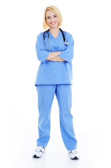 Female hospital student full standing - white background