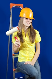 Female house painter