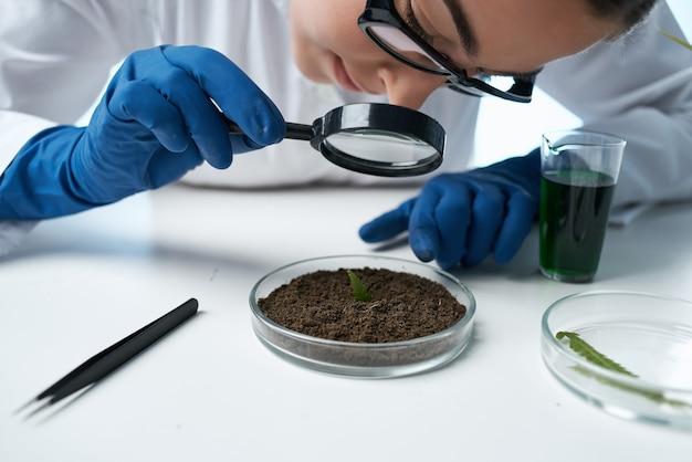 토양 연구 생물학에서 돋보기를 통해 보는 여성 실험실 조수