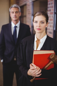 Female lawyer with male colleague