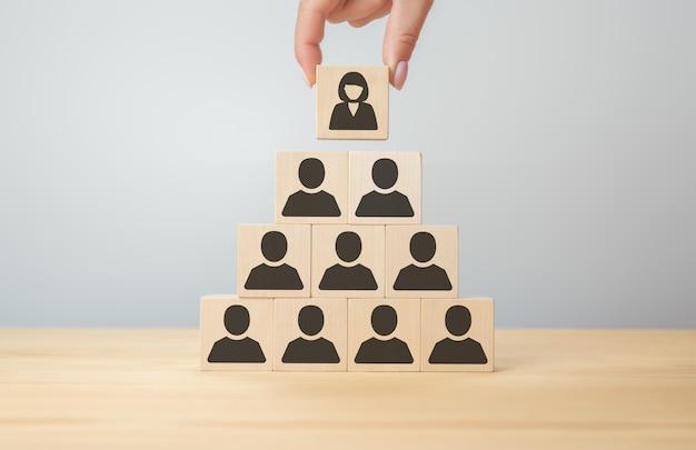 조직의 수장인 여성 리더. 여성을 고위직에 임명. 회사 관리자로 여성을 선택합니다. 손은 비즈니스 우먼의 아이콘이 있는 나무 큐브를 선택합니다.