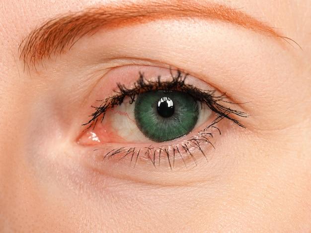 特別なコンタクトレンズのクローズアップで緑色に染められた女性の左青い目