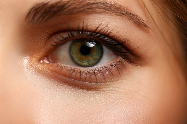 Female left emerald green coloured eye extreme closeup