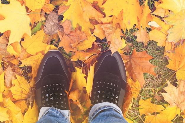 노란 단풍에 부츠에 여성 다리 단풍. 자연 속에서 걷는 발 신발. 가을 활동과 산책의 개념. 평면도.