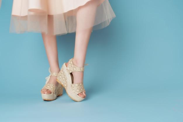 靴のドレスの女性の足は、トリミングされたビューのクローズアップの青い背景のファッションをドレスアップします