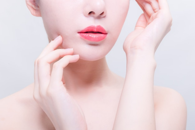 Female lips in close-up