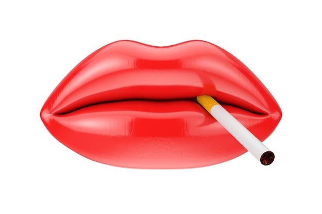 흰색 바탕에 빨간 립스틱과 담배가 있는 여성 입술. 3d 렌더링