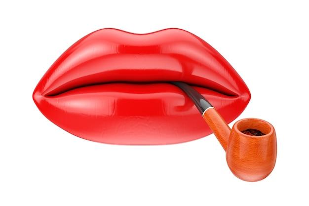흰색 바탕에 빨간 립스틱과 빈티지 흡연 담배 파이프가 있는 여성 입술. 3d 렌더링