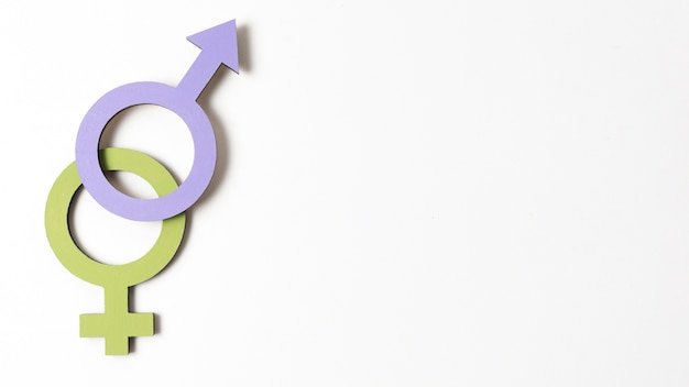 Female and male gender symbols copy space