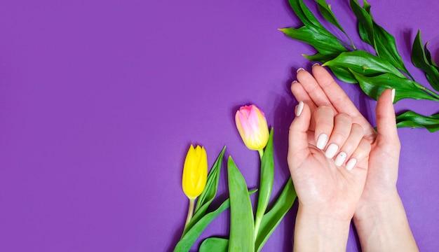 明るい背景の女性のマニキュア。花と紫の背景。バナー。