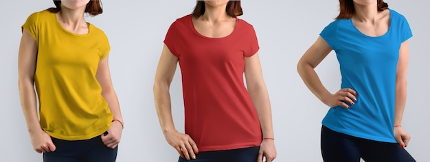 Female mockup set with slim young woman in the color t-shirt  isolated on the studio background, front view. includes three color schemes: red, blue, yellow. template for your design or logo.