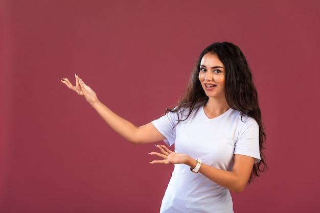 Female model showing copyspace