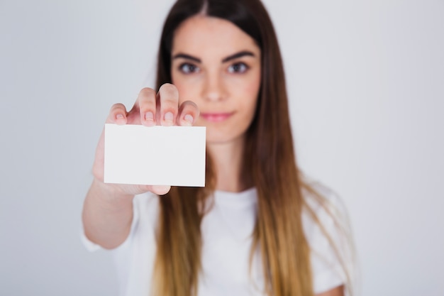 Female model with business card