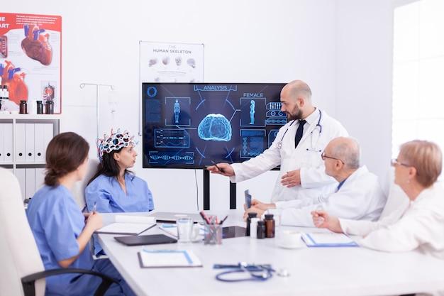 Медсестра женского пола, носящая сканирующую гарнитуру для активности мозга во время эксперимента и врача, говорящего диагноз. монитор показывает современное исследование мозга, в то время как группа ученых настраивает устройство.