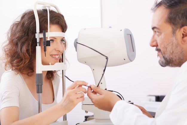 Female opthalmologist working