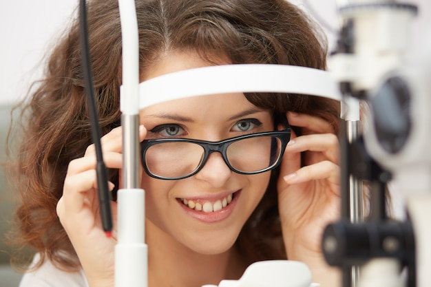 Female opthalmologist working