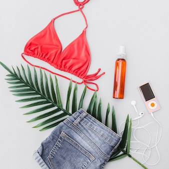 Female outfits with long leaf, perfume bottle and mp3 player on gray background