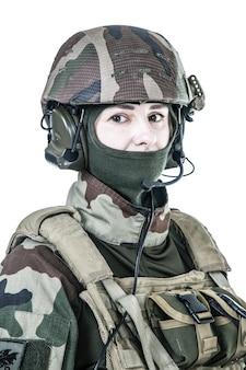 Female paratrooper of french 1st marine infantry parachute regiment rpima