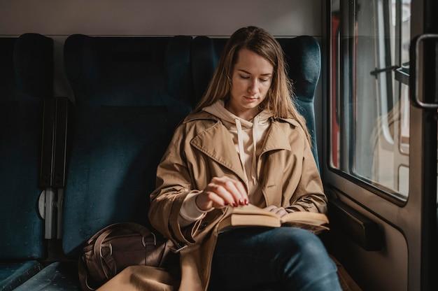 電車の中で読書をしている女性の乗客