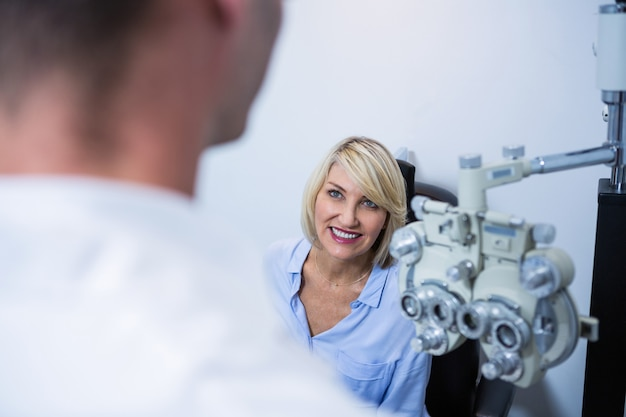 Female patient interacting with optometrist