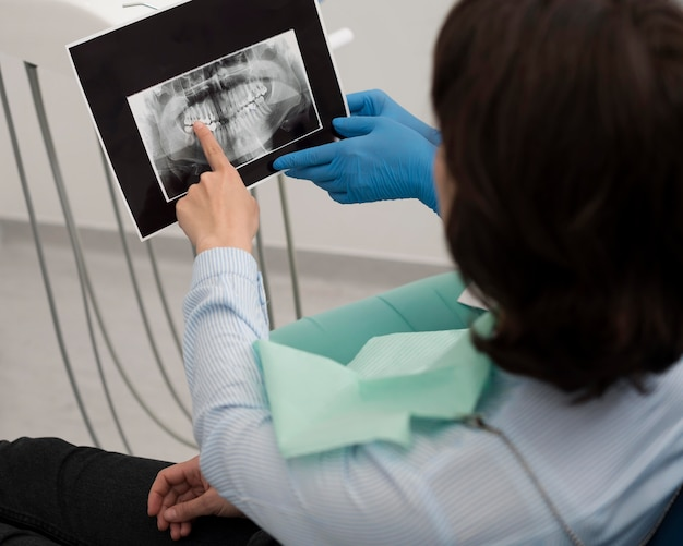 Female patient looking at radiography of her teeth with dentist